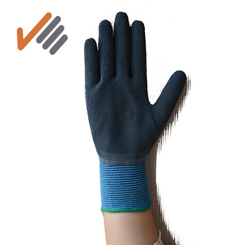 13g blue polyester shell palm coated latex glove