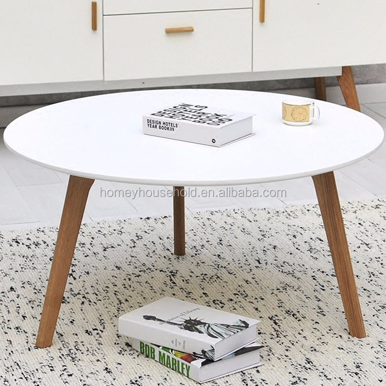 KD furniture folded round wood dining coffee tea table nordic
