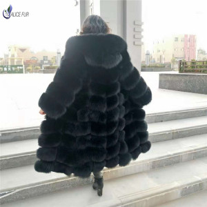 ALICEFUR Long style dyed real fox fur coat with hood for women