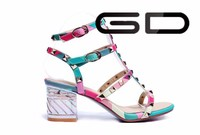 high heels for kids girl ladies fancy thick heel sandal new women rainbow shoes sandals