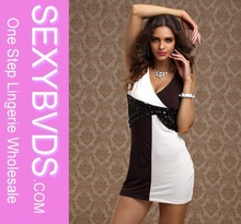 Close-fitting brown and white clubbing dresses