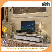 European simple style Stainless steel legs marble top living room tv stand unit furniture