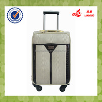 Langchao Brand High-end Trolley Luggage White Color Snake Leather Valise