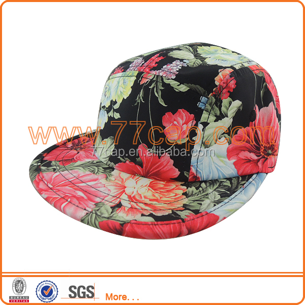 Floral 5 panel snapback caps and hats wholesale