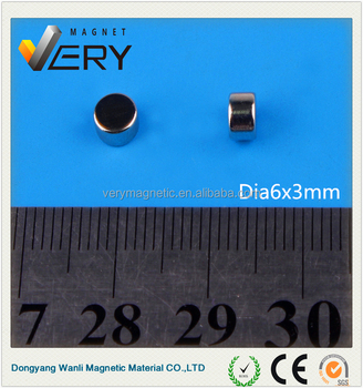 Dia 6x3mm magnet motor generator n35 magnet car magnet with great price