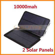 3W Universal Power Bank Charger with 2 Solar Panel 10000mah Solar Power Bank for iPhone 6