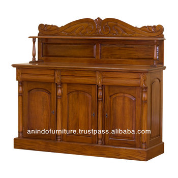 Classic Victorian Buffet 3 Doors and Top Carving