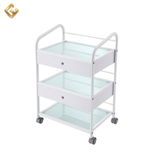 Chinese multi-function beauty hairdressing manicure trolley for glass