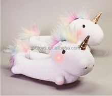CE Custom Lovely Enchanted Light-Up Plush Unicorn Slippers