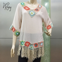 Good price tassels translucent summer loose apparel women's women blouse tops