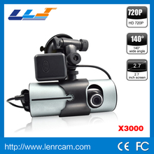 "New arrivals Dual Camera lens gps car dvr X3000 R300 HD 720P 140 Degree Lens Radio Recorder Car Camera 2.7"" LCD Screen"