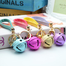 7 Color Christmas Bell Keychain Pu Leather Key Chain Mat Metal Keychain keyring 2016 Hot Selling DIY Mobile Phone Shell Pendant