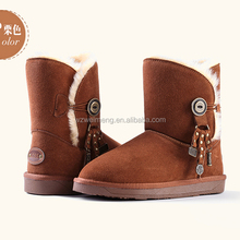 good quality EVA sole embroidery winter leather ankle boots for women