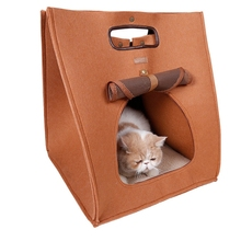 Alibaba Hot selling can custom 100% polyester felt cute Pet Beds cat bed