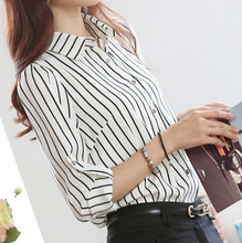 2016 European long-sleeved chiffon shirt lady blouse striped