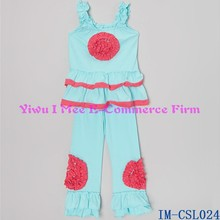 Boutique Baby Clothes with Ruffles Cute Toddler Girls Cotton Aqua Ruffle Pants Outfits Sets with Pink Flower IM-CSL024