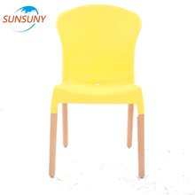 Low price wooden frame pp plastic chair