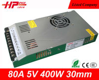 Ultra-thin 30mm factory sell CE RoHS constant voltage single output ac dc smps 80A 400W 5V Power Supply pt4205 led driver ic