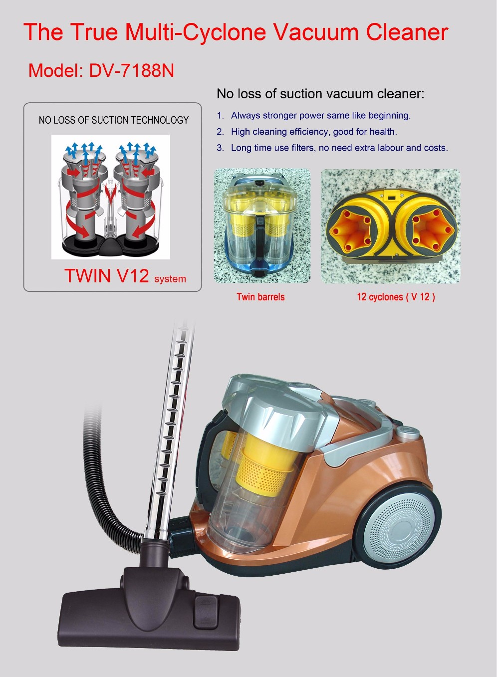 Canister Bagless Multi Cyclone Vacuum Cleaner
