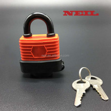 laminated steel padlock with rubber cover waterproof gate locks