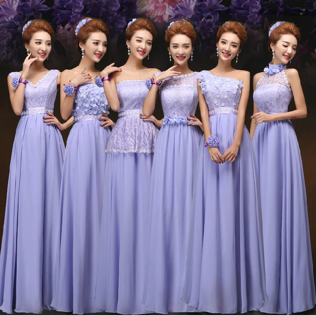 Alibaba Hot Sale Best Price Purple Long Chiffon A Line Floor-Length Bridesmaid Dress