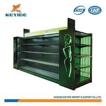 factory price cosmetic display shelf light display standing rack