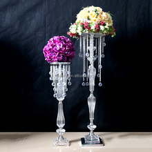 Tall crystal flower stand with crystal bead strands for wedding table centerpieces