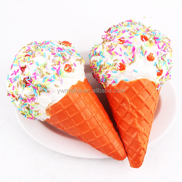 Japan hot selling PU slow rising squishy toys big size ice cream with colorful dots