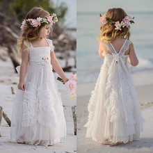 ZH1201Q Boho Ruffles Flower <strong>Girls</strong> <strong>Dresses</strong> For Weddings Lovely Kids Pageant <strong>Dress</strong> Beach Birthday Lace First Communion Gown