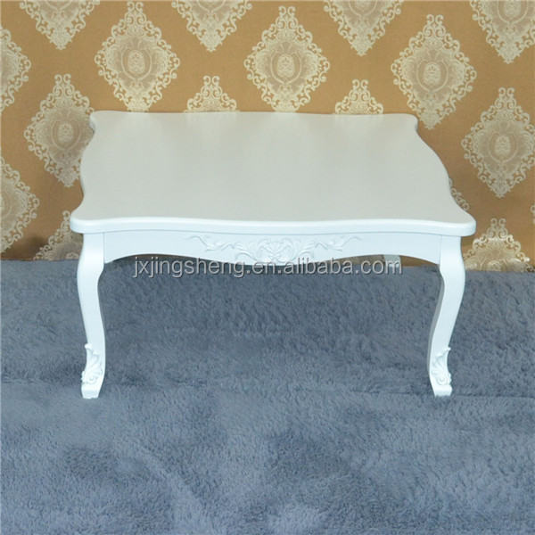Reproduction wood french shabby chic vintage white lacquered coffee table