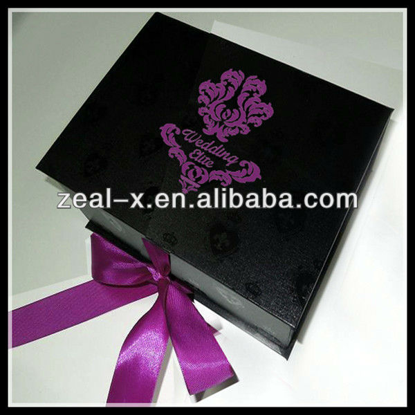 High quality folding box packaging for DVD case, ribbon flat pack box with logo printed
