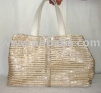 Braided Abaca Ladies' Handbags With Sequence