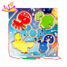 2017 New products develop intelligence children toy magnetic wooden maze ball W11H016