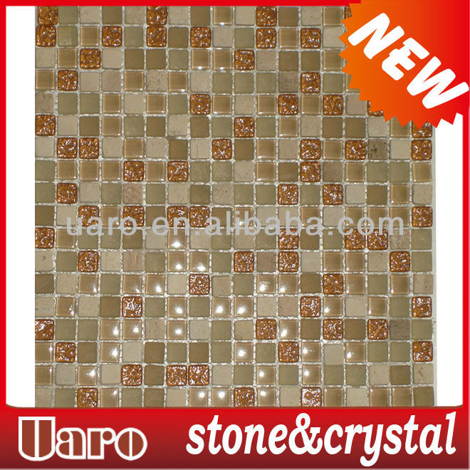 Entrance decoration 15mm pattern beige stone & crystal mosaic