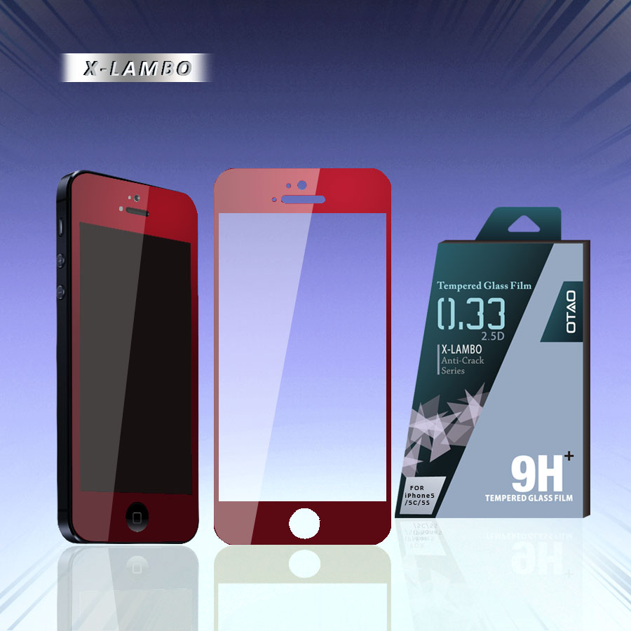 0.2mm 2.5D for LG G2 anti-shock anti-fingerprint tempered glass dark screen protector