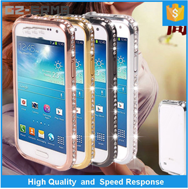 Luxury Diamond Bling Bling Metal Bumper Case for Samsung Galaxy S4 Mini i9190