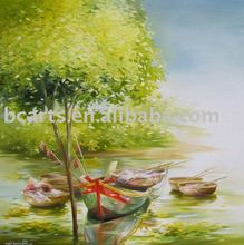 Modern art bay seascape sailing boat in harbour painting