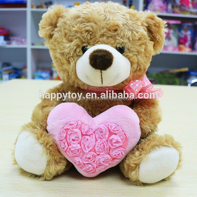 HI CE Customized Gift Teddy Bear Stuffed Plush Toys Holding Pink Rose Love-heart for Girls