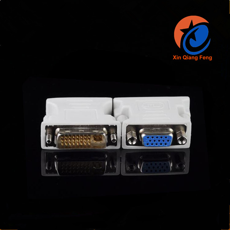 High quality factory price white Male to female DVI to VGA connector