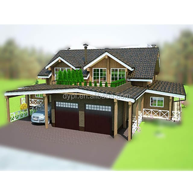 double storeys prefab log house for two familiesDY-E-820