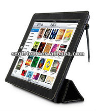 Stand ultra slim folio genuine leather case for new iPad, ipad 3 case