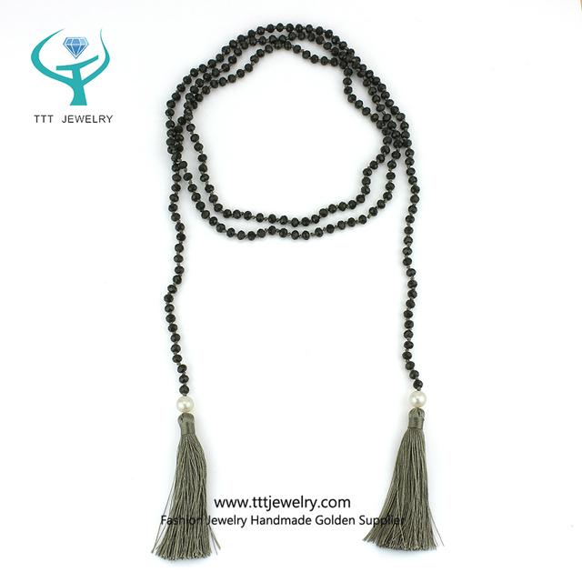 Multi Strand Black Bead Necklace for Girls Costume