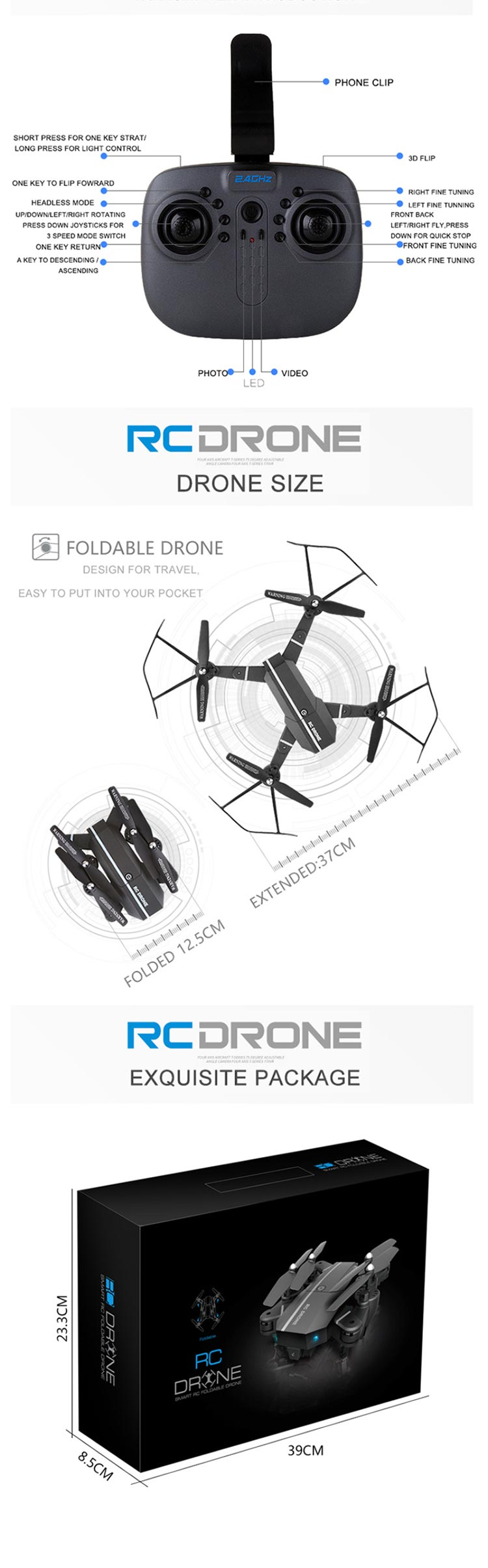 2017 New design 2.4G rc foldable drone with 480P HD camera