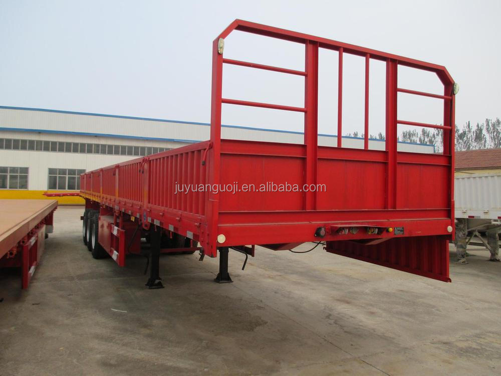 3 axles 50tons flat bed drop side wall transporting cargo semi trailer for sale