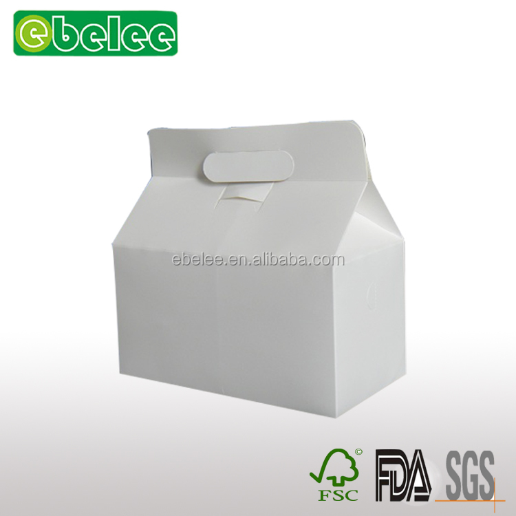 Custom made wholesale paper cake box with handle /carry handle paper cake box