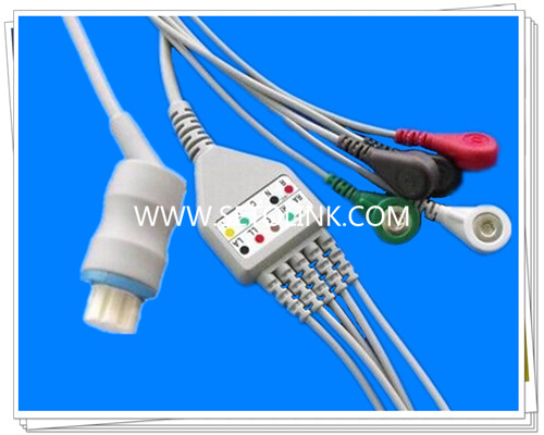 Datex Ohmeda AS/3 one piece 5 leads ECG cable,Snap,AHA