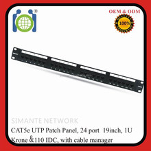22-26 AWG Solid Wire 19 inch 24 port Patch Panel