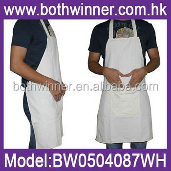 white cotton apron ,H0T012 customized plain white aprons cotton , kitchen apron plastic apron