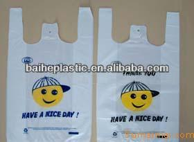 HDPE vest handle bags for vegetable and fruit wrap