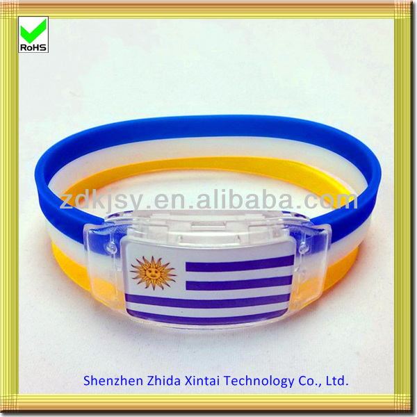 country flag silicon motion flash led light wristband